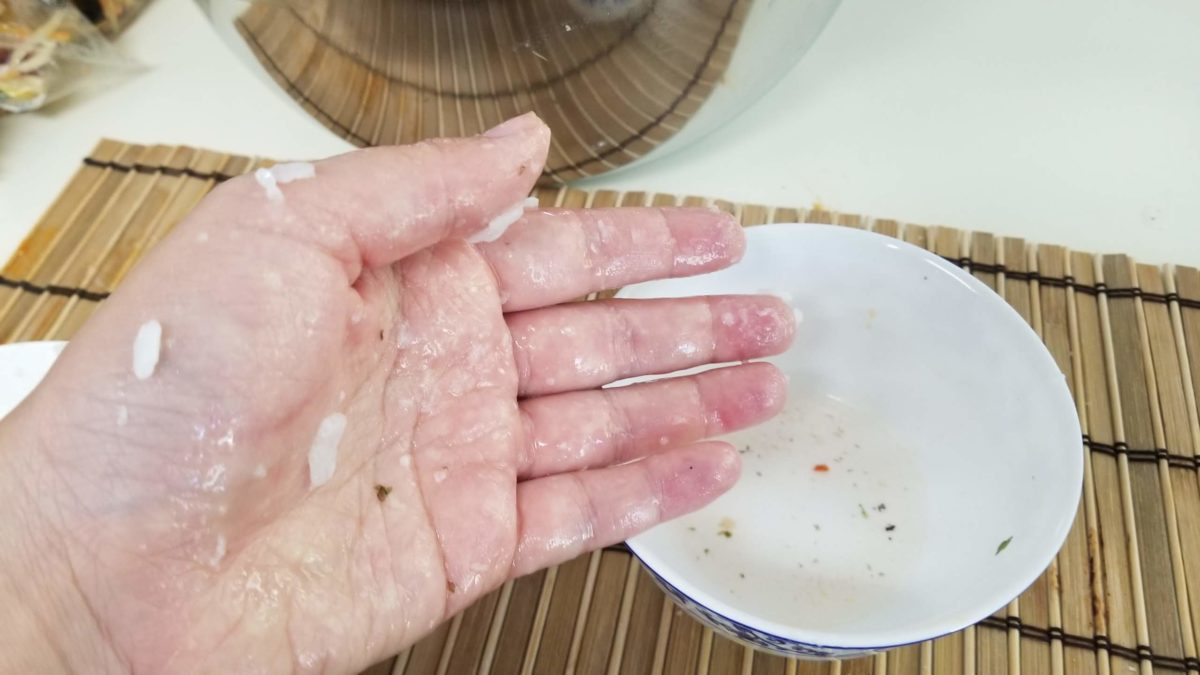 salt water on hands for vegan kimbap