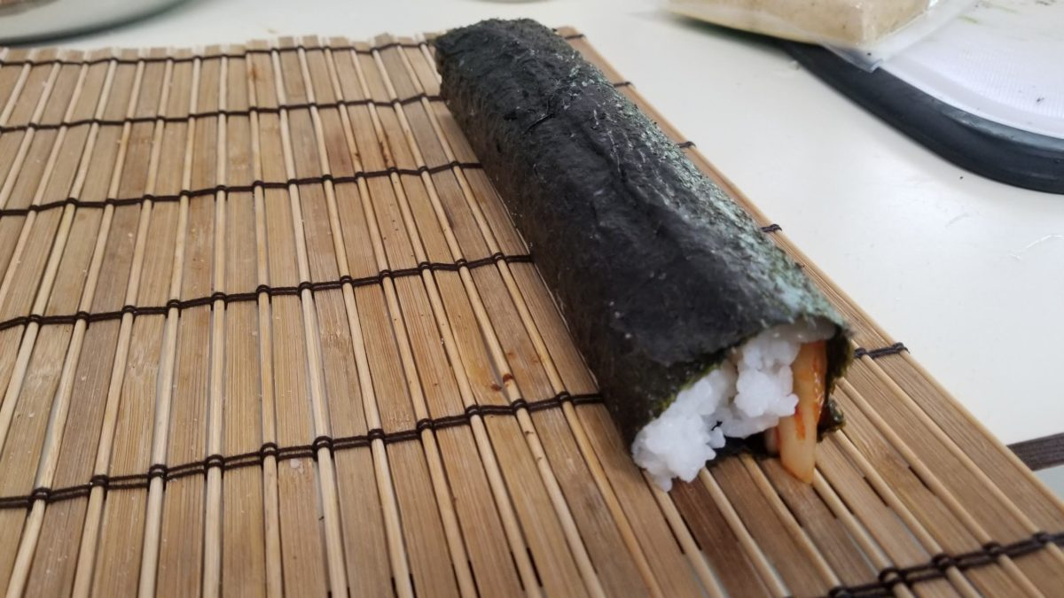finish rolling vegan kimbap 김밥