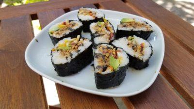 crunchy roll sushi finished